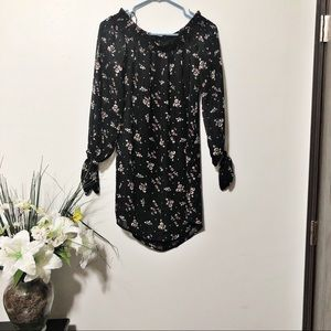 WAYF off shoulder black floral sheer top dress